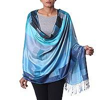 Viscose shawl, 'Blue Sea Story' - Indian Blue Viscose Shawl with Checkered Motif