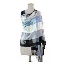 Viscose shawl, 'Blue and Grey' - Indian Grey and Black Viscose Shawl with Checkered Motif