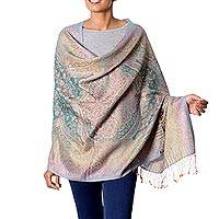 Wool and silk shawl,