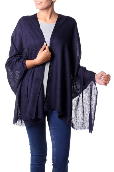 Wool shawl, 'Midnight Panache' - Indian Midnight Blue Paisley Weave Wool Shawl for Women