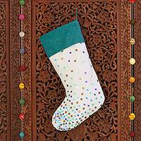 Sequined stocking, 'Glittering Christmas' - Christmas Stocking with coloured Sequins and Wide Teal Borde