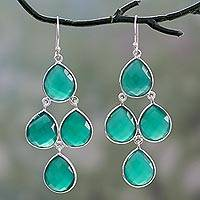 Green onyx chandelier earrings, 'Evergreen Chandelier' - Handmade Green Onyx and Sterling Silver Chandelier Earrings