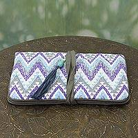 Cotton jewelry roll, 'Zigzag Treasure' - Artisan Crafted jewellery Roll Case with Zigzag Motif