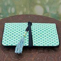 Cotton jewelry roll, 'Sea Green Treasure' - Artisan Crafted Cotton jewellery Roll Pouch from India