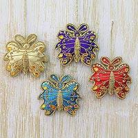 Embroidered ornaments, 'Holiday Butterflies' (set of 4) - Butterfly Holiday Ornaments in Assorted Colors (Set of 4)