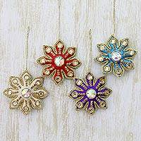Embroidered ornaments, 'Holiday Snowflakes' (set of 4) - Ornately Embroidered Fabric Snowflake Ornaments (Set of 4)