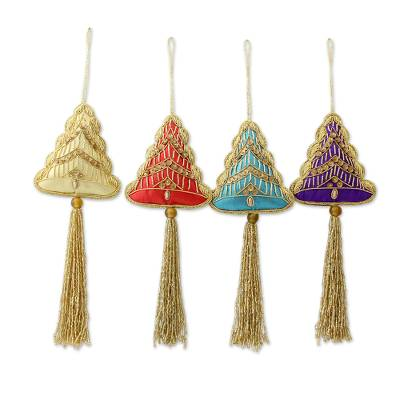 Christmas Tree Ornaments with Golden Embroidery (Set of 4)