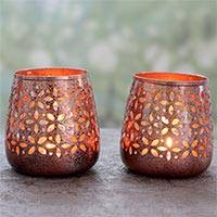 Steel tealight holders, 'Flower Glow' - Copper Plated Steel Floral Tealight Candle Holders (Pair)