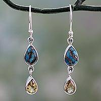 Citrine dangle earrings, 'Heavenly Light' - Citrine and Composite Blue Turquoise Dangle Earrings