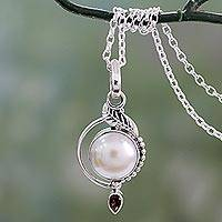 Cultured pearl and garnet pendant necklace, 'Sublime Romance' - Leaf Theme Silver and Cultured Pearl Necklace with Garnet
