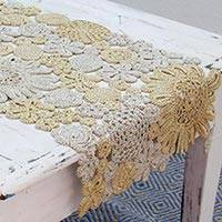 Rayon table runner, 'Floral Garden' - Hand Crafted Rayon Floral Table Runner from India