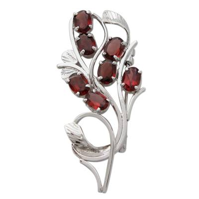 Sterling Silver Brooch Pin with Garnets Handcrafted in India