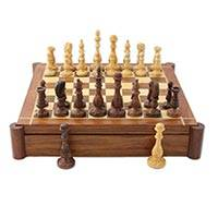 Wood chess and backgammon set, 'The Fun Begins' - Versatile Combination Wood Chess and Backgammon Set