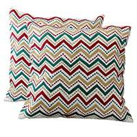 Embroidered cushion covers, 'Festive Zigzag' (pair) - Fair Trade Machine Embroiderd Cushion Covers with Zippered C