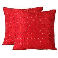 Beaded cushion covers, 'Crimson Constellation' (pair) - Set of 2 Embroidered Hand Beaded Red Cushion Covers