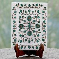 Marble inlay plate, 'Royal Forest Blossom' - Marble Inlay Indian Decorative Plate and Wood Stand