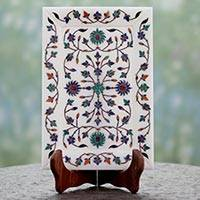 Marble inlay plate, 'Festive Royal Blossom' - Taj Mahal-Style Marble Inlay Decorative Plate and Stand