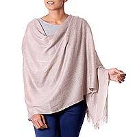 Wool shawl, 'Taupe Textures' - Indian Lightweight Jacquard Wool Shawl in Taupe