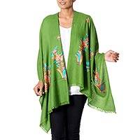 Wool shawl, 'Green Floral Valley' - Floral Embroidery Kashmiri Style Green Wool Shawl from India
