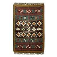 Jute area rug, 'Festive Geometric ' (4x6) - Hand Crafted 100% Jute Area Rug with Geometric Motif (4x6)