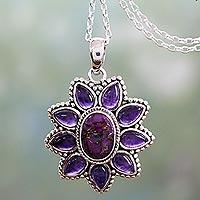 Amethyst Pendant Necklace Ruffled Petals (india)