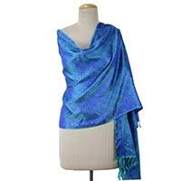 Varanasi silk shawl, 'Emeralds and Sapphire' - Shimmering Green and Blue Varanasi Silk Shawl from India