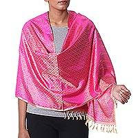 Varanasi silk shawl, 'Golden Fuchsia' - Golden Indian 100% Silk Shawl with Hot Pink Flowers
