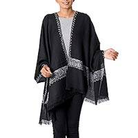 Wool shawl, 'Midnight Moonlight' - Kashmiri Black Wool Shawl with White Sozni Hand Embroidery