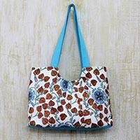 Cotton tote handbag, 'Foliage and Stars' - Handcrafted Turquoise Trim Cotton Tote Handbag from India