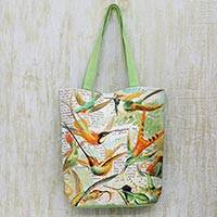 Cotton tote handbag, 'A Story of Birds' - Cotton Print Tote Handbag from India with Birds