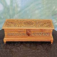 Wood jewelry box, 'Flowers Galore' - Hand Carved Wood Jewelry Box with Jali Style Openwork
