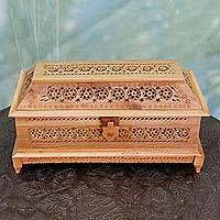 Wood jewelry box, 'Floral Treasure' - Artisan Crafted Wood Jewelry Box with Carved Floral Motifs