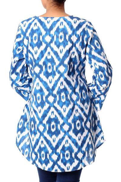 Cotton tunic, 'Azure Beauty' - Abstract Blue Screen Printed Cotton Tunic with Sequins