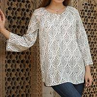 Cotton tunic, 'Grey Beauty' - Grey and White Floral Patterned Cotton Tunic from India