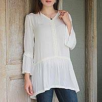 Viscose tunic, 'Sophisticated Charm' - 100% Viscose V Neck Tunic in Ivory from India