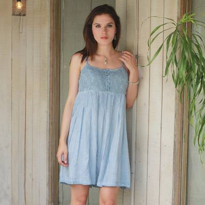Viscose sundress, 'Powder Blue Morning' - 100% Viscose Sundress in Powder Blue from India