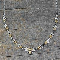 Citrine Y necklace, 'Mumbai Garden' - Handcrafted Sterling Silver Citrine Y-Necklace 20 Carats