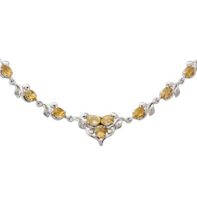 Handcrafted Sterling Silver Citrine Y-Necklace 20 Carats