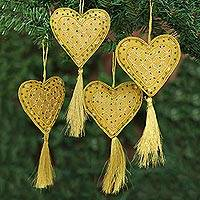 Beaded ornaments, 'Heart of the Holiday' (set of 4) - Four Handcrafted Beaded Gold Heart Christmas Ornaments