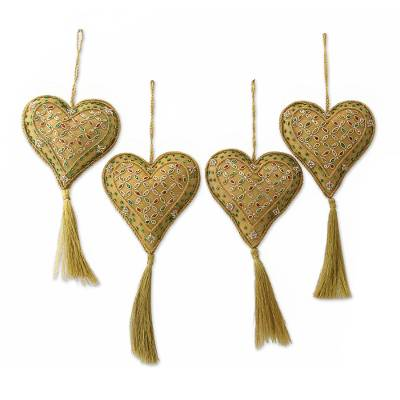 Unicef UK Market  Four Handcrafted Beaded Gold Heart Christmas
