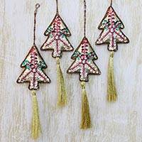 Beaded ornaments, 'Silver Pine' (set of 4) - Handcrafted Silvery Christmas Tree Beaded Ornaments Set of 4