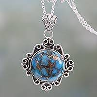 Sterling silver pendant necklace, 'Golden in the Sky' - Women's Sterling Silver and Composite Turquoise Necklace