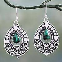 Malachite dangle earrings, Jaipuri Princess