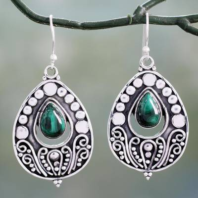 Malachite dangle earrings, 'Jaipuri Princess' - Ornate Sterling Silver Dangle Earrings with Malachite