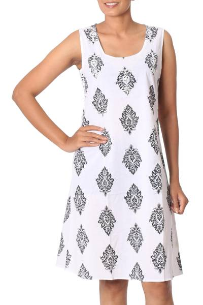 Cotton shift dress, 'Black Leaves' - Cotton Leaf Motif Embroidered Dress from India