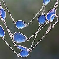 Quartz station necklace, 'Blue Regal' - Hand Crafted Sterling Silver Station Necklace