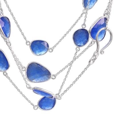Novica Blue Dyed Quartz and Silver Station Necklace