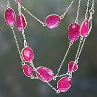 Quartz station necklace, 'Pink Duduma Majesty' - Long Sterling Silver and Pink Quartz Station Necklace