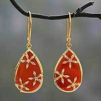 Gold vermeil onyx dangle earrings, 'Red Floral Kiss' - Red Onyx Teardrop Gold Vermeil Earrings with Cubic Zirconia