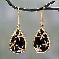 Gold vermeil onyx dangle earrings, 'Black Floral Kiss' - Gold Vermeil with Cubic Zirconia Onyx Teardrop Earrings